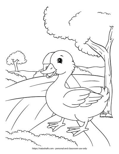 A kid's coloring page with a duck walking by a path next to trees