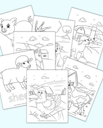 A flatlay preview of 7 printable farm animal themed coloring pages including ga rooster, a cow, a sheet, a donkey, a cat, a lamb, and a pig