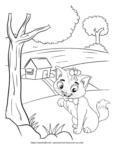 A coloring page with a cat wearing a bow licking its paw in front of a farmhouse