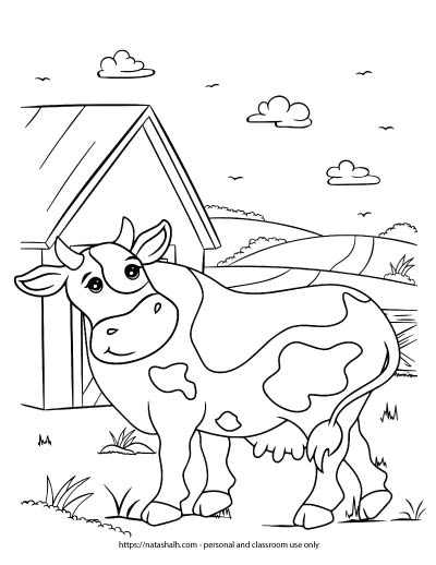 A preview of a farm coloring page with a cow standing in front of a barn