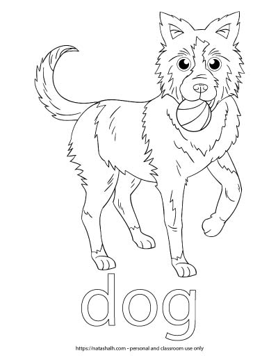 "A child's coloring page with an image of a dog with a ball in its mouth and the word ""dog"" in bubble letters to color"