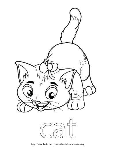 "A child's coloring page with an image of a cat ready to pounce and the word ""cat"" in bubble letters to color"