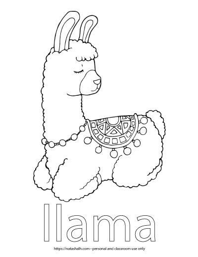 "A child's coloring page with an image of a llama lying down and the word ""llama"" in bubble letters to color"