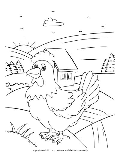 A children's coloring page with a rooster standing in a farmhand at sunrise