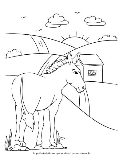 A donkey coloring page. The donkey is standing on a hill. Roads lead over the hill to the sunrise.