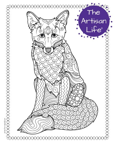 """A preview of a sitting fox coloring page for adults. The fox has hand drawn doodles to color and the page is bordered by a doodle frame. A purple round logo reading """"the artisan life®"""" is in the corner."""