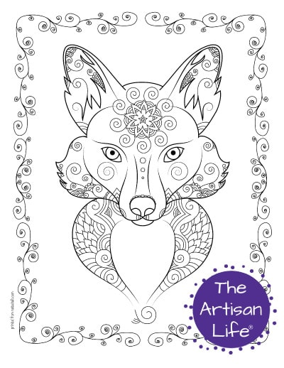 """A preview of a fox's face coloring page for adults. The fox face has hand drawn doodles to color and the page is bordered by a doodle frame. A purple round logo reading """"the artisan life®"""" is in the corner."""