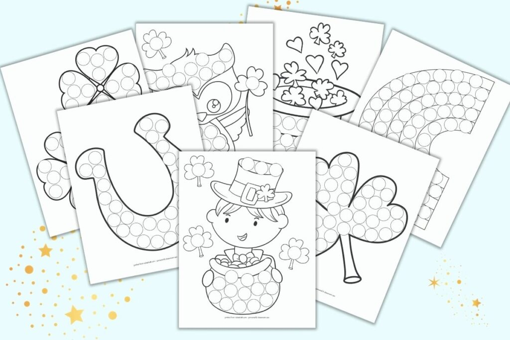 Six printable do a dot pages for preschoolers and toddlers with a St. Patrick's Day theme. Each page has a black and white image filled with white circles to color in with bingo markers. Images include a St. Pat's boy in a hat, shamrocks, a lucky horseshoe, a St. Patrick's Day own, a hat with shamrocks and hearts, and a rainbow.