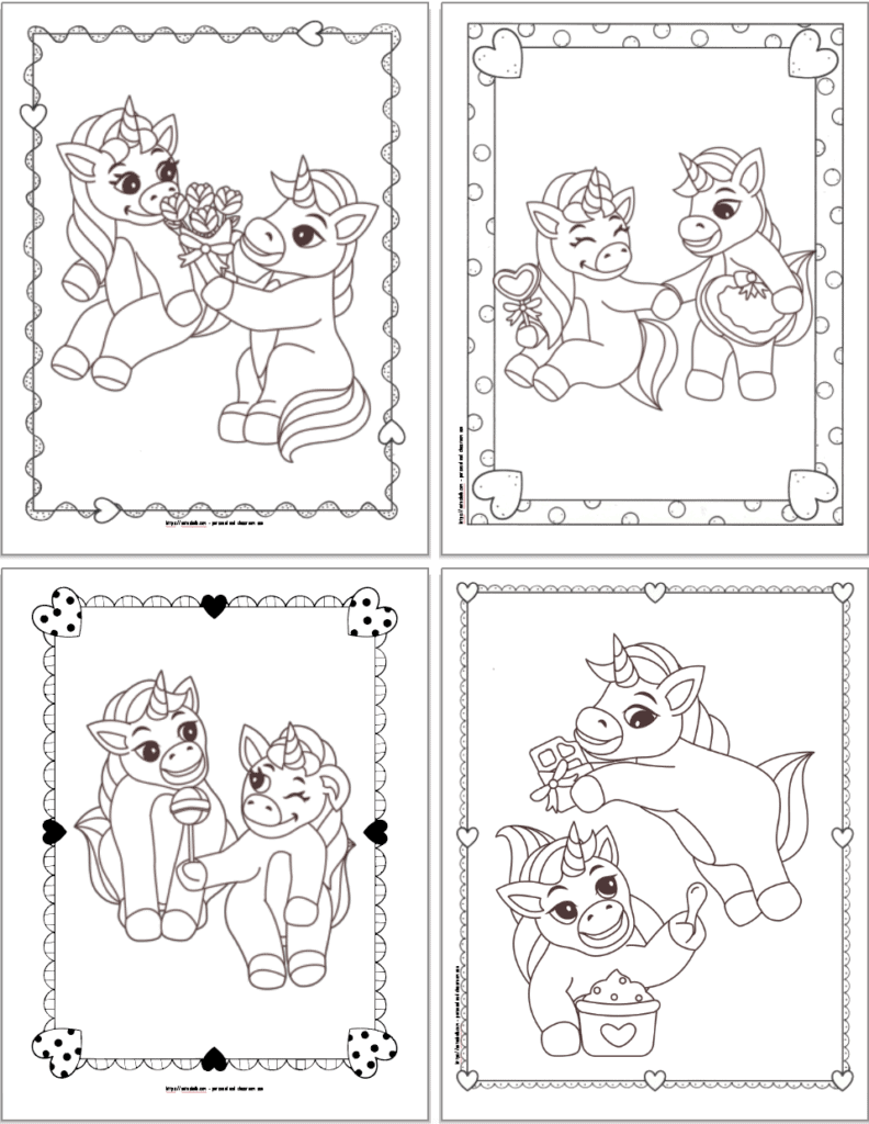 """Four unicorn coloring pages with doodle frames. Images include: a unicorn gifting a bouquet of roses, unicorns holding """"hands"""", unicorns sharing a lollipop, and one unicorn eating ice cream while another has a chocolate bar."""