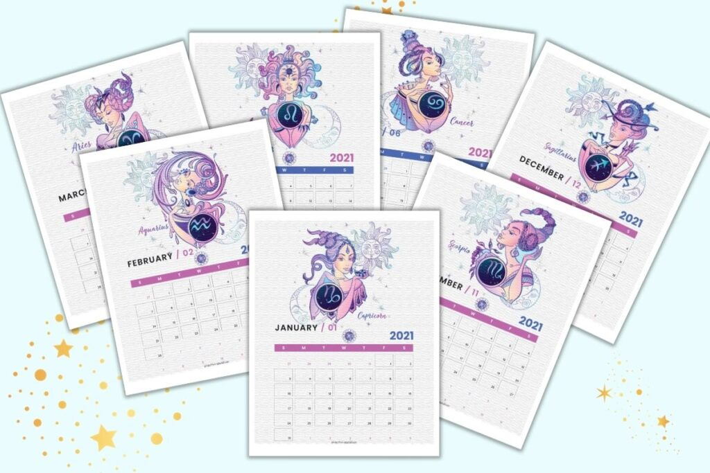 Seven printable monthly calendar pages with an astrology horoscope theme. The images are pink, blue, and purple.