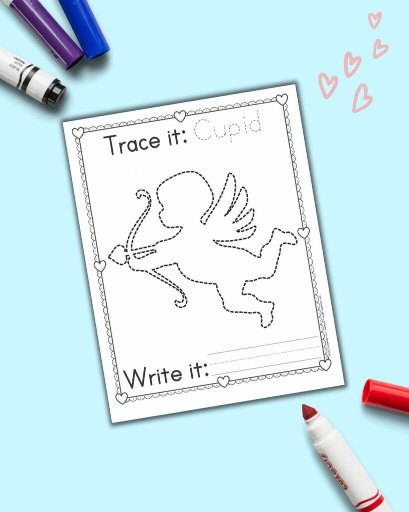 "A printable Valentine's Day tracing page with cupid to trace. Above is the word ""cupid"" to trace and below ""write it"" next to a line to independently write. The page is on a blue background with a bright red child's marker."