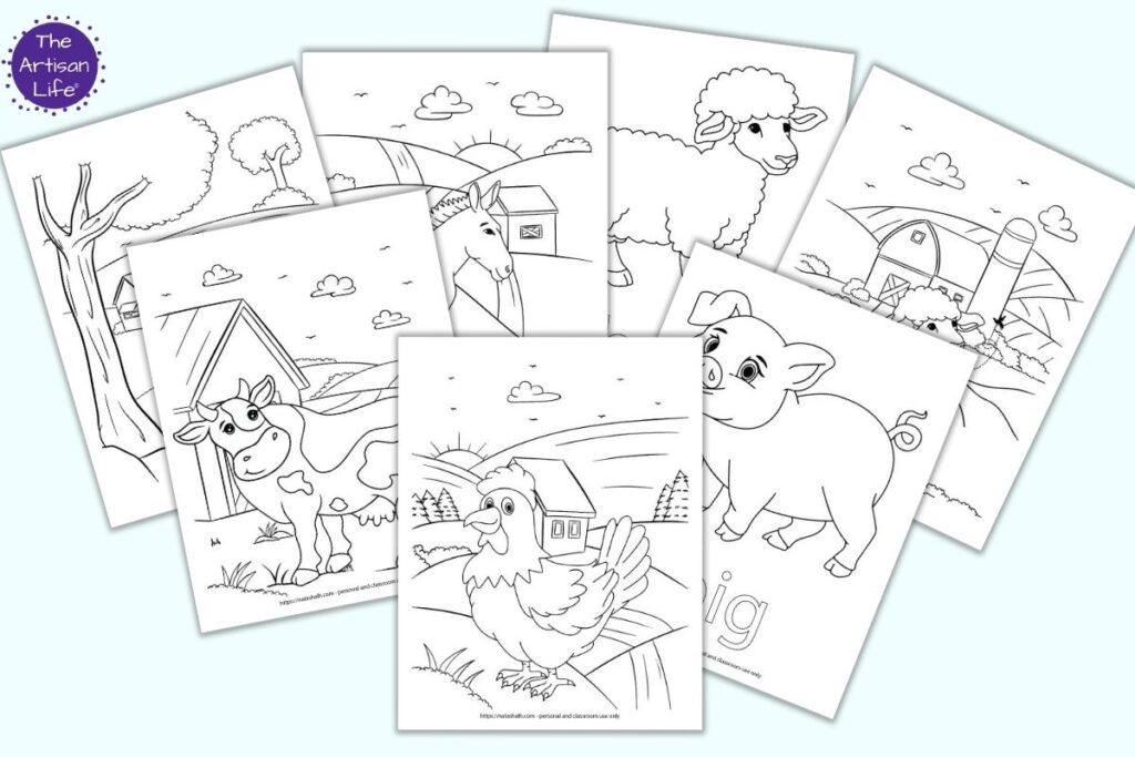 Seven printable farm animal coloring pages on a light blue background. Pages include a rooster at daw, a pig, a cow by a barn, a sheep by itself, a sheep by a barn, a donkey, and a cat sitting under a tree.