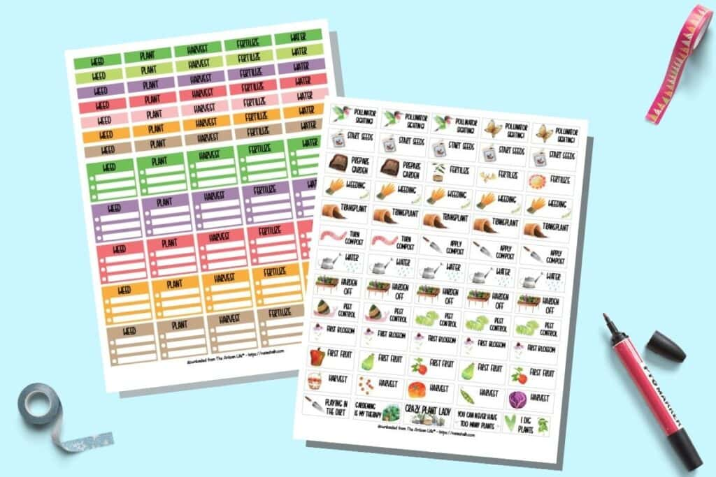 """A preview of two pages of printable functional gardening sticker for Happy Planner and Erin Condren. The stickers include - Banners in 7 colors for weed, plant, harvest, fertilize, and water - Checklist half boxes in 5 colors for week, plant, harvest, fertilize, and water - .65"""" gardening activity stickers with clipart. These include a variety of activities and events like spotting pollinators in your garden, tending your compost, hardening off seedlings, conducting pest control, and a handful of just for fun gardening stickers."""