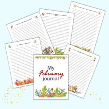 a preview of free printable February journal pages featuring watercolor clipart