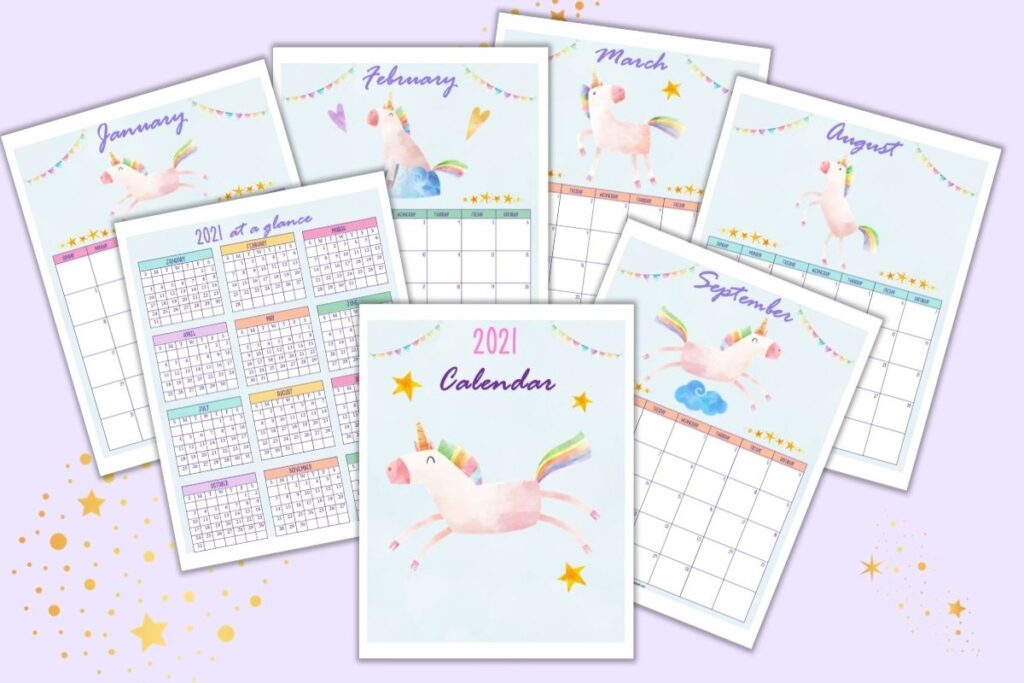 Printable unicorn calendar pages for 2021 on a purple surface. Each page has a vertical layout and a dated calendar page with a digital watercolor unicorn.