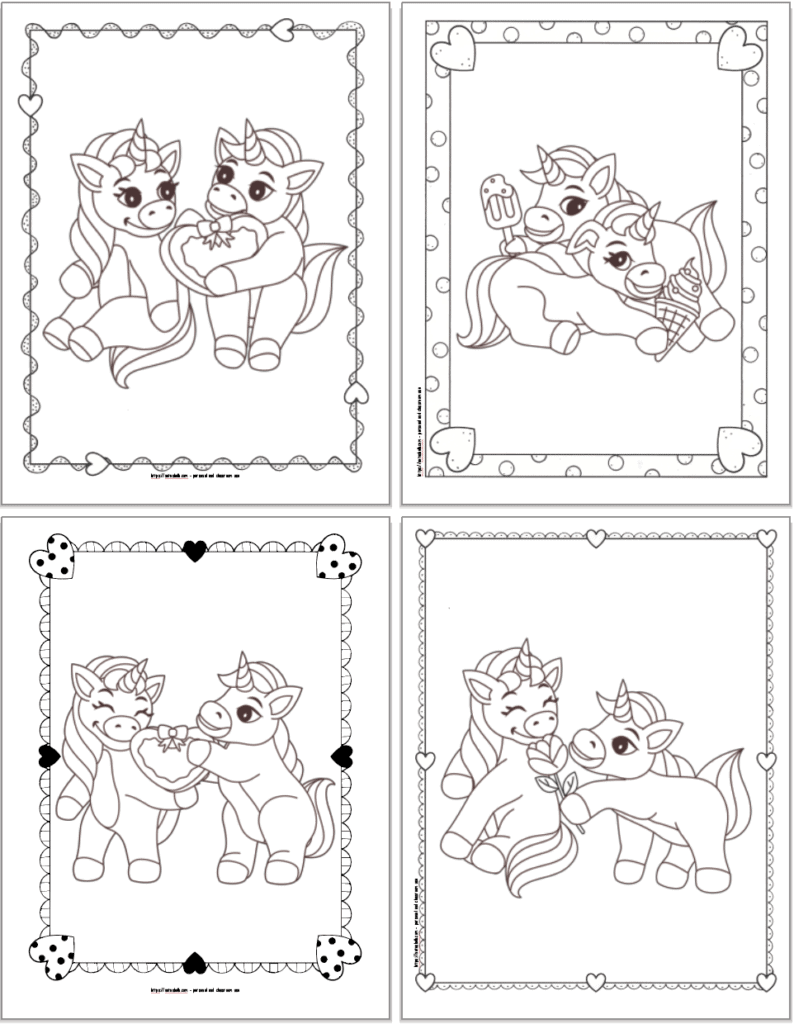 Four coloring pages showing  unicorns exchanging a box of chocolates, unicorns eating ice cream, a unicorn gifting a heart box of chocolates, and one unicorn giving a rose to another.