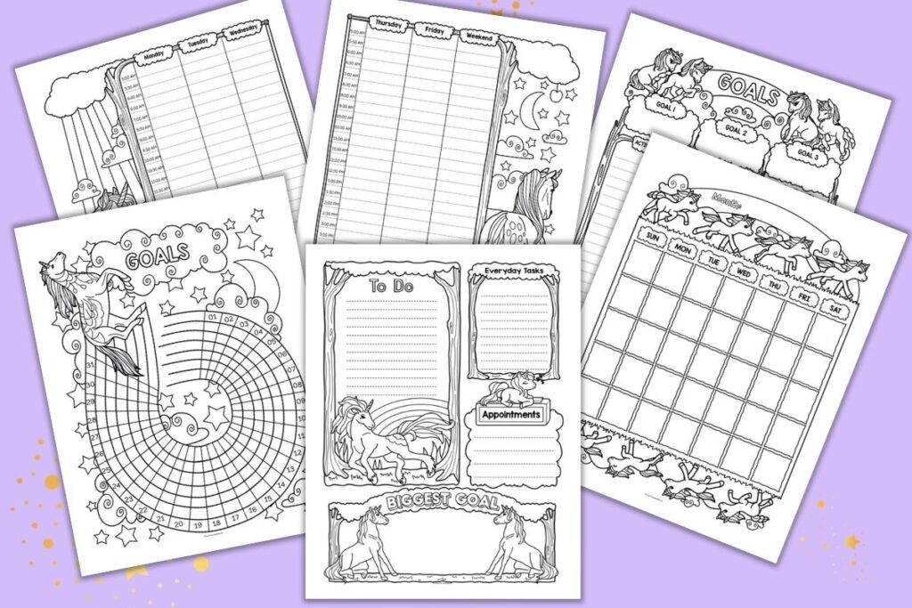 Six printable unicorn planner pages on a purple background. Each page is in black and white with unicorns to color. Pages include a daily to do list planner page, a goals/habit tracker page, monthly calendar, two page weekly spread, and a goals tracker.