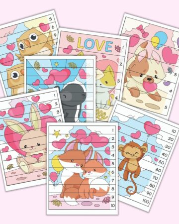7 printable Valentine's Day themed number building puzzles for preschoolers. Each page has a colorful Valentine's image and lines to cut the page into 5 or 10 strips. A number (1-15, 1-10, 10-100 by 10s) is on the right side of each strip.