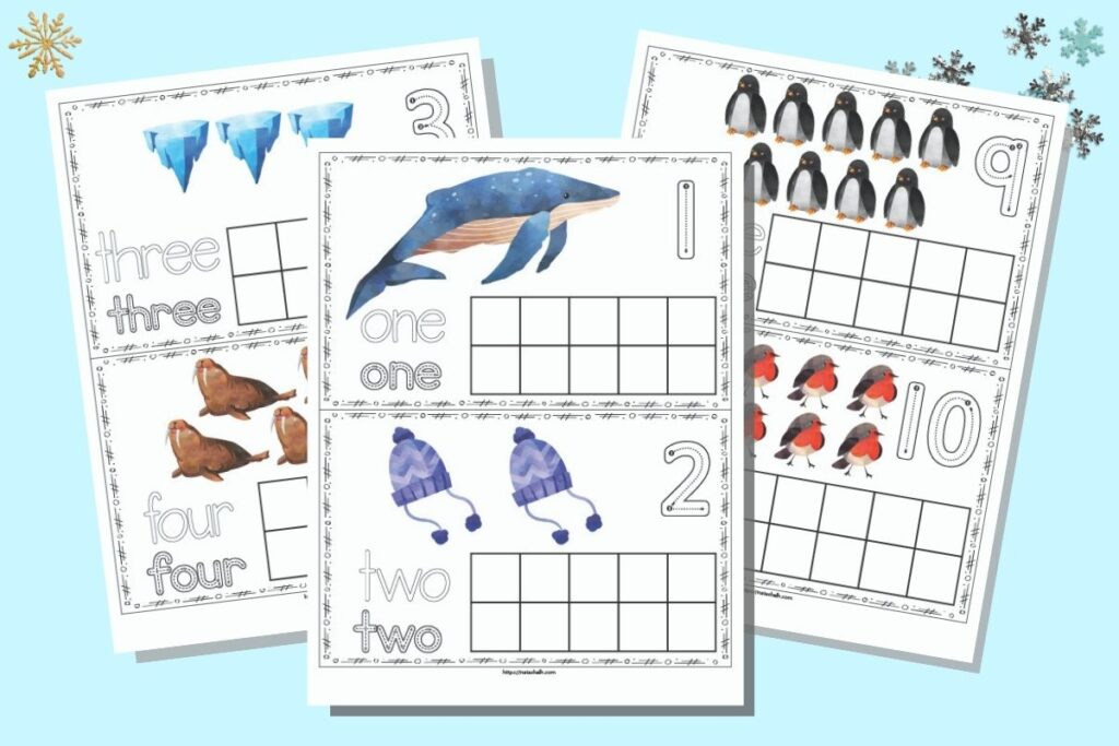 A flatlay mockup of three pages of printable winter ten frames. The front page has one and two on two separate cards with a ten frame to fill in. Behind and to the right are three and four on the same page. On the right are nine and 10. The pages are on a light blue background.