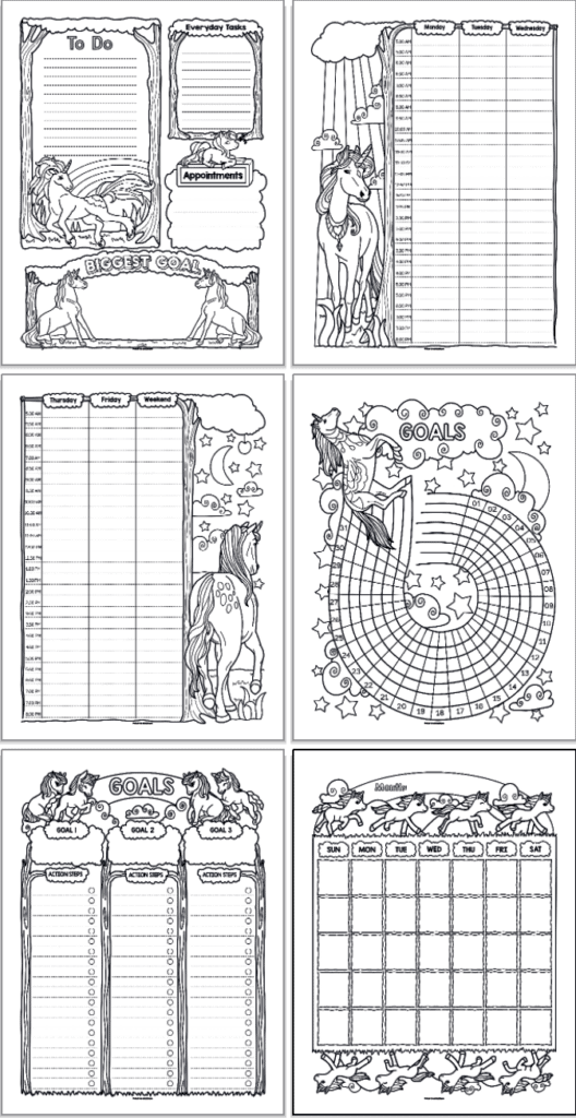 six printable unicorn planner pages arranged in a 2x3 grid. The pages are black and white with unicorns to color. Pages include: daily planner, two page weekly spread, goals/habits tracker, goals planner, and monthly calendar page
