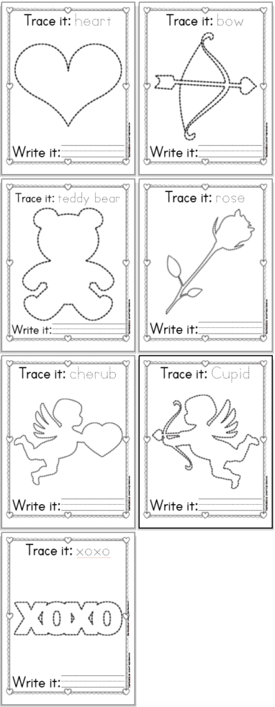 7 printable trace and color Valentine's Day printables for preschoolers. Each page has a Valentine's day themed image to trace along with its name to trace and a line to rewrite the name. Images include: a heart, a bow, a teddy bear, a rose, a cherub, Cupid, and xoxo