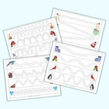 a flatlay mockup of four printable trace in the path worksheets for preschoolers. Each page has four paths to trace inside. A watercolor winter-related clip art image is on either side of each path.