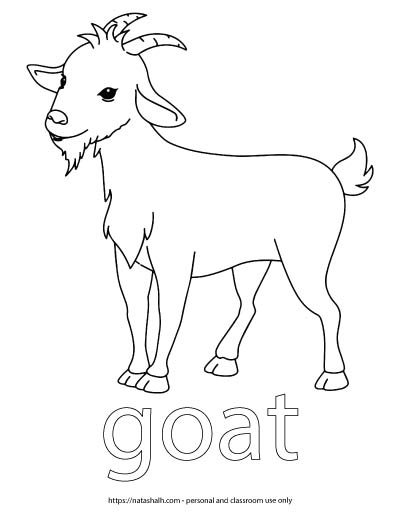 "A child's coloring page with an image of a goat and the word ""goat"" in bubble letters to color"