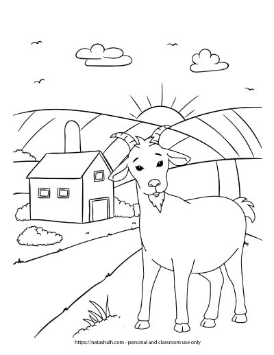 A preview of a farm coloring page with a goat standing near a barn with a silo. The sun is rising in the background.