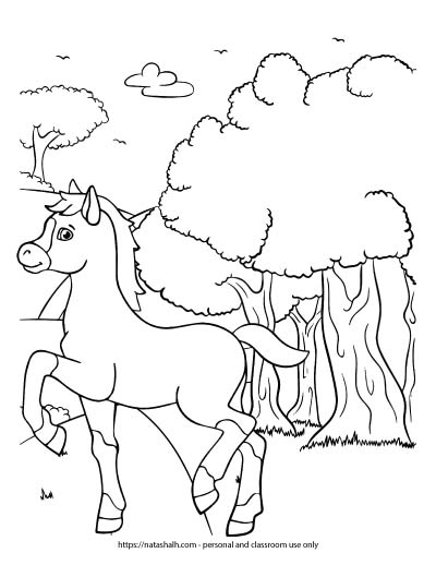 horse walking by woods coloring page for children