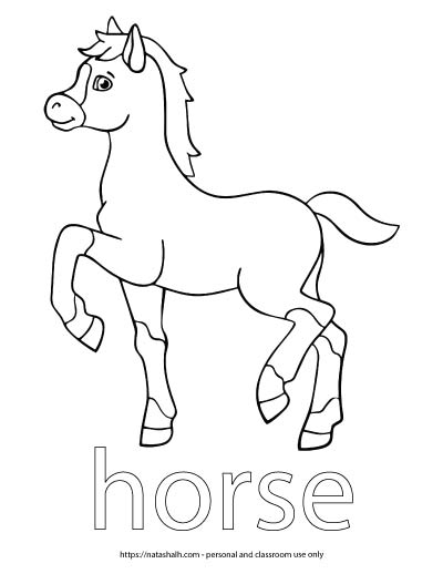 "A child's coloring page with an image of a horse stepping high and the word ""horse"" in bubble letters to color"
