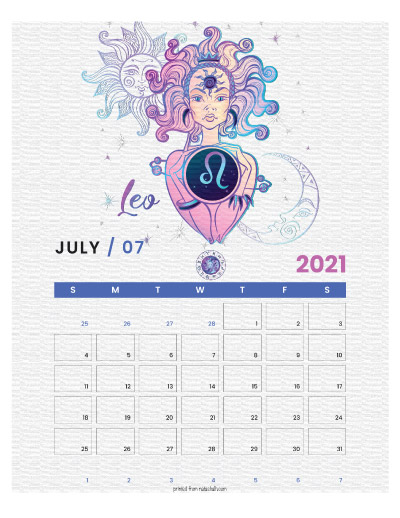 A printable monthly calendar page for July 2021 with a Leo theme. The illustrations are pink, purple, and blue.