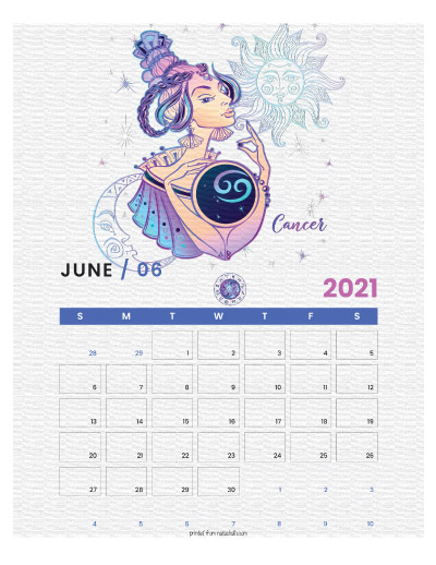 A printable monthly calendar page for June 2021 with a Cancer theme. The illustrations are pink, purple, and blue.