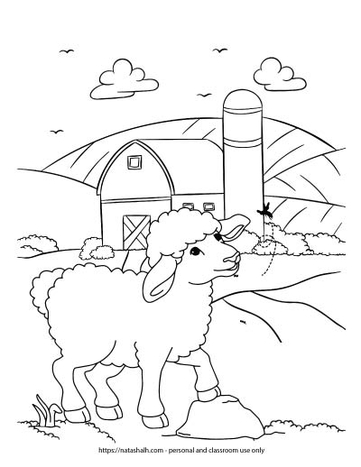 A coloring page with a lamb standing in a field looking at a butterfly. A barn with a silo is visible in the background.