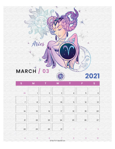 A printable monthly calendar page for March 2021 with an Aries theme. The illustrations are pink, purple, and blue.