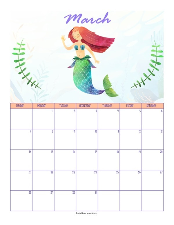 "A printable March 2021 calendar with a mermaid theme. The page says ""March"" at the top in purple script. Below is a red haired mermaid with a green tail. She is between two green pieces of sea grass. Below is a dated March 2021 calendar."
