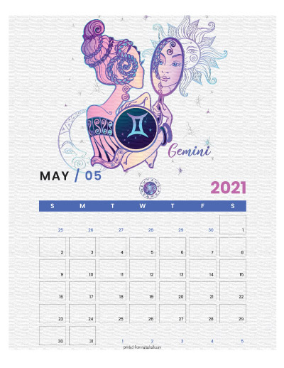 A printable monthly calendar page for May 2021 with a Gemini theme. The illustrations are pink, purple, and blue.