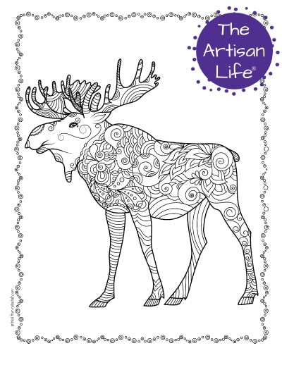 """A preview of a moose coloring page for adults. The moose has hand drawn doodles to color and the page is bordered by a doodle frame. A purple round logo reading """"the artisan life®"""" is in the corner."""