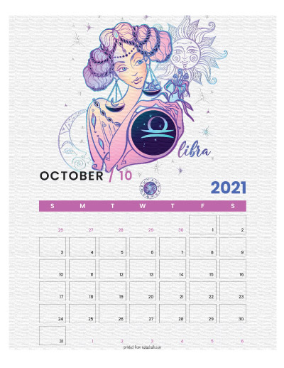 A printable monthly calendar page for October 2021 with a Libra theme. The illustrations are pink, purple, and blue.