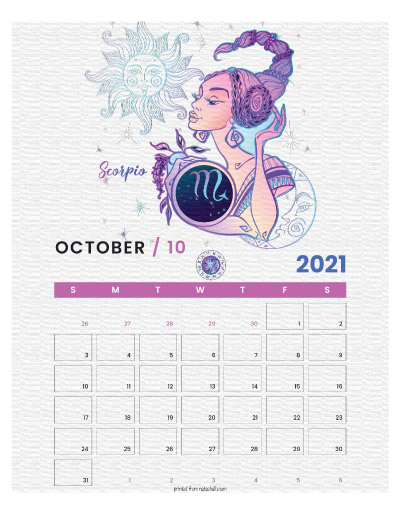 A printable monthly calendar page for October 2021 with a Scorpio theme. The illustrations are pink, purple, and blue.