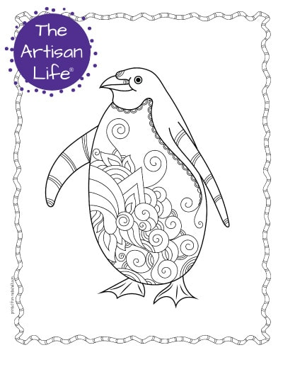 """A preview of a cute penguin coloring page for adults. The penguin has hand drawn doodles to color and the page is bordered by a doodle frame. A purple round logo reading """"the artisan life®"""" is in the corner."""