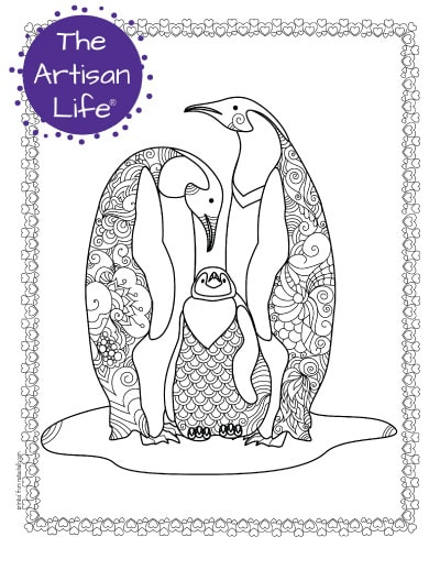 """A preview of a family of three penguins coloring page for adults. The penguins have hand drawn doodles to color and the page is bordered by a doodle frame. A purple round logo reading """"the artisan life®"""" is in the corner."""