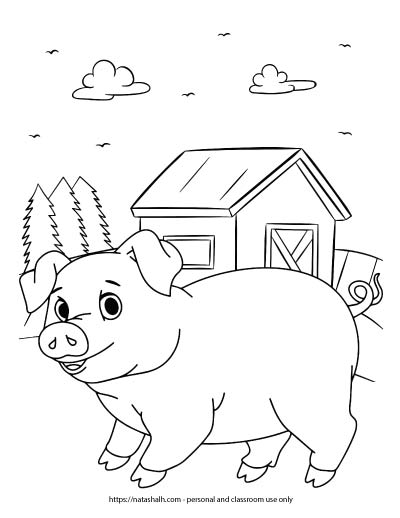 A preview of a farm coloring page with a pig standing near a barn