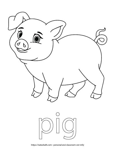 "A child's coloring page with an image of a pig and the word ""pig"" in bubble letters to color"