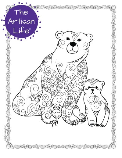 """A preview of a mom and child polar bear coloring page for adults. The polar bears have hand drawn doodles to color and the page is bordered by a doodle frame. A purple round logo reading """"the artisan life®"""" is in the corner."""