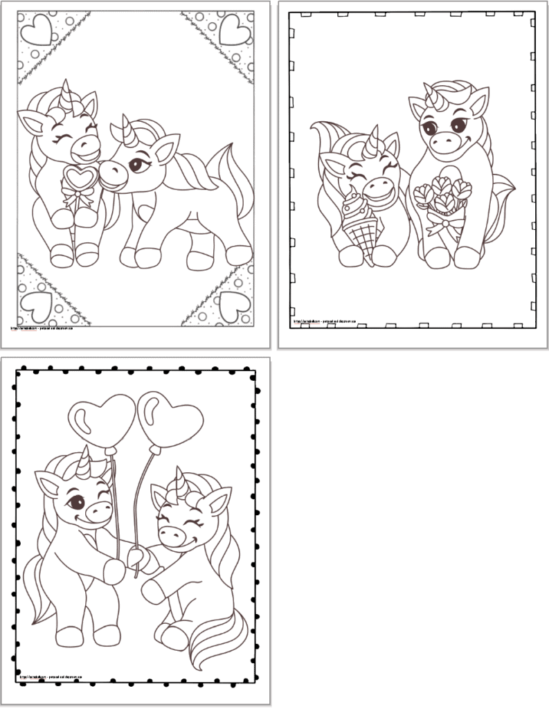 Three printable unicorn Valentine's day coloring pages with doodle frames. The pages show: a cute unicorn couple with a heart lollipop, ice cream and roses, and unicorns with heart balloons