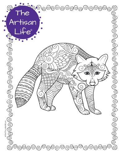 """A preview of a raccoon coloring page for adults. The raccoon has hand drawn doodles to color and the page is bordered by a doodle frame. A purple round logo reading """"the artisan life®"""" is in the corner."""