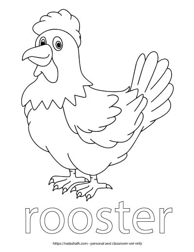 "A child's coloring page with an image of a rooster and the word ""rooster"" in bubble letters to color"