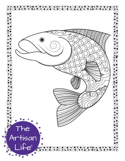 """A preview of a salmon coloring page for adults. The large salmon has hand drawn doodles to color and the page is bordered by a doodle frame. A purple round logo reading """"the artisan life®"""" is in the corner."""