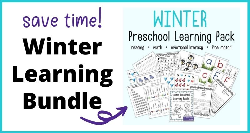 "text ""save time! Winter learning bundle"" with an arrow pointing at an image on a blue background with the head ""winter preschool learning pack reading - math - emotional literacy - fine motor"" above a preview of printable preschool worksheets with a winter theme."