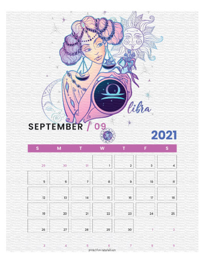 A printable monthly calendar page for September 2021 with a Libra theme. The illustrations are pink, purple, and blue.